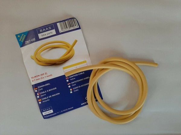 Zündkabel Silikon gelb 1 Meter ignition cable yellow 7mm