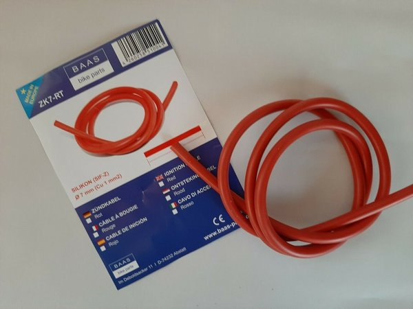 Zündkabel Silikon rot 1 Meter ignition cable red 7mm